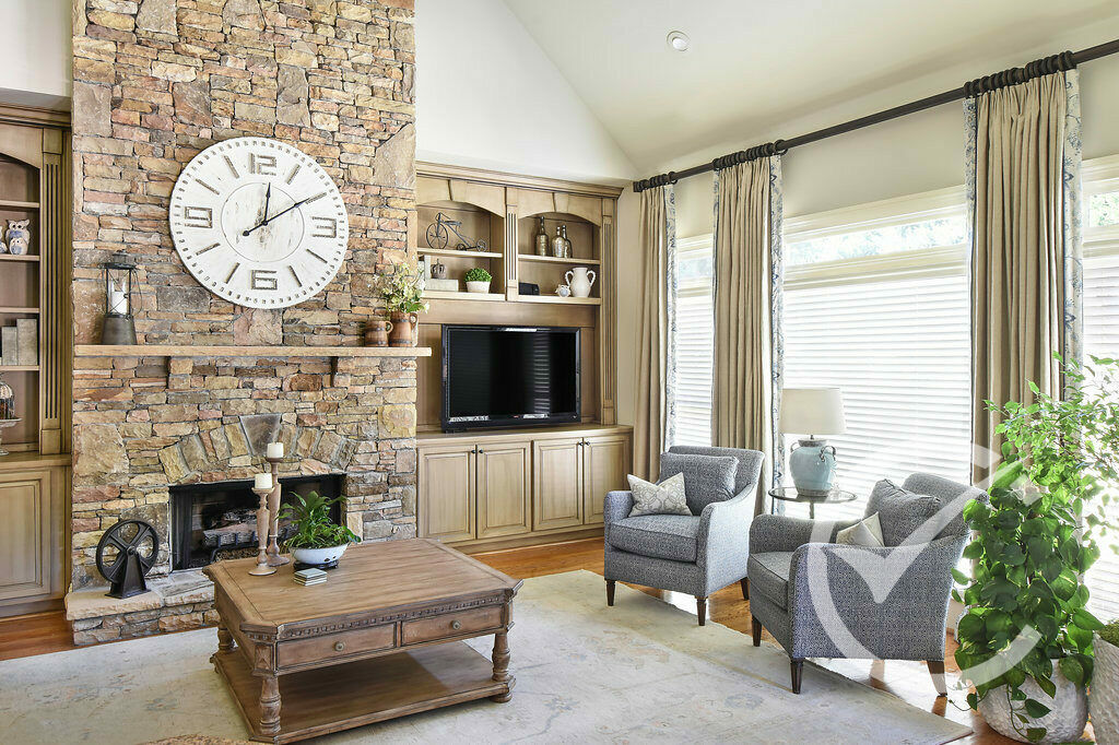 fireplace and window treatments Farmhouse Country Den . Chosen Interiors