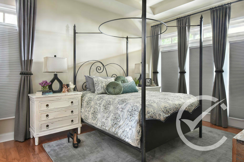 Master Bedroom Bed and bedding with decor Chosen Interiors