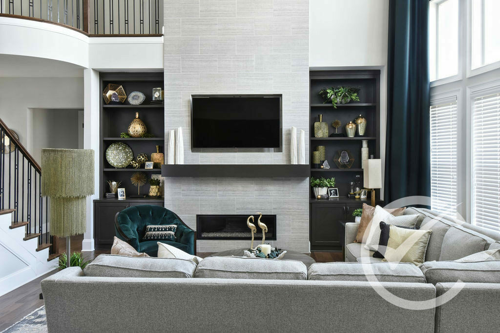 Fireplace focus view with details decor and furniture.Roswell GA Chosen Interiors